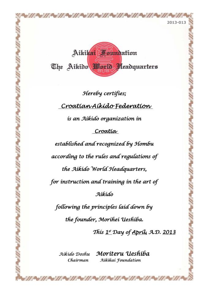AIKIKAI Hombu dojo recognition